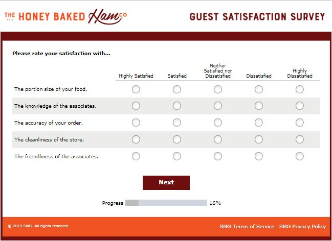 honeybaked survey